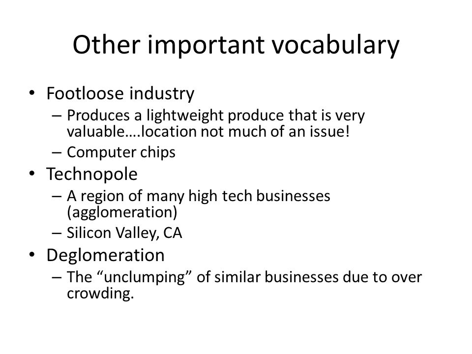 Other important vocabulary