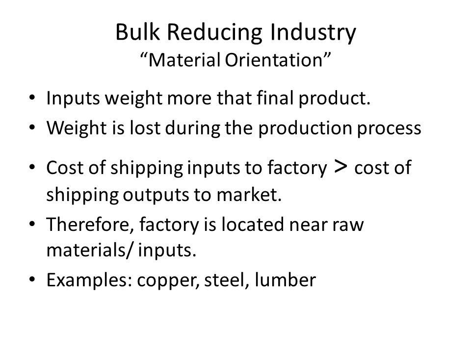 Bulk Reducing Industry Material Orientation