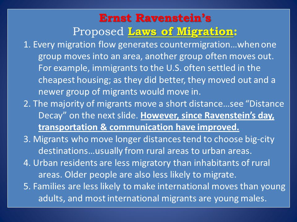 Proposed Laws of Migration: