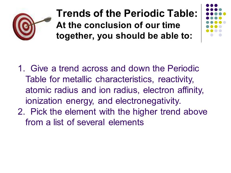 Trends of the Periodic Table: At the conclusion of our time together, you should be able to: