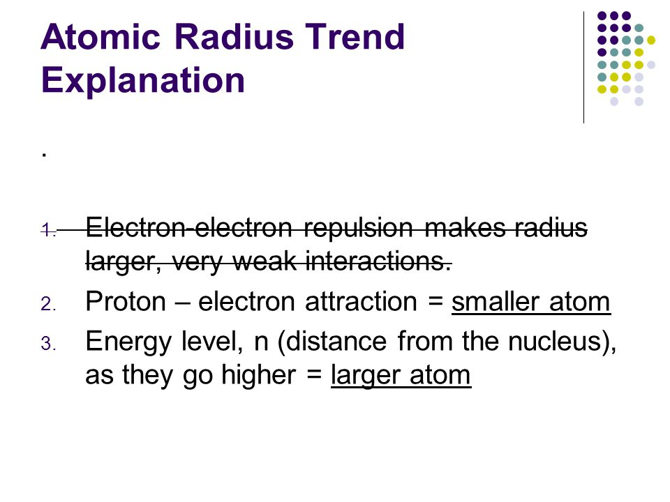 Atomic Radius Trend Explanation