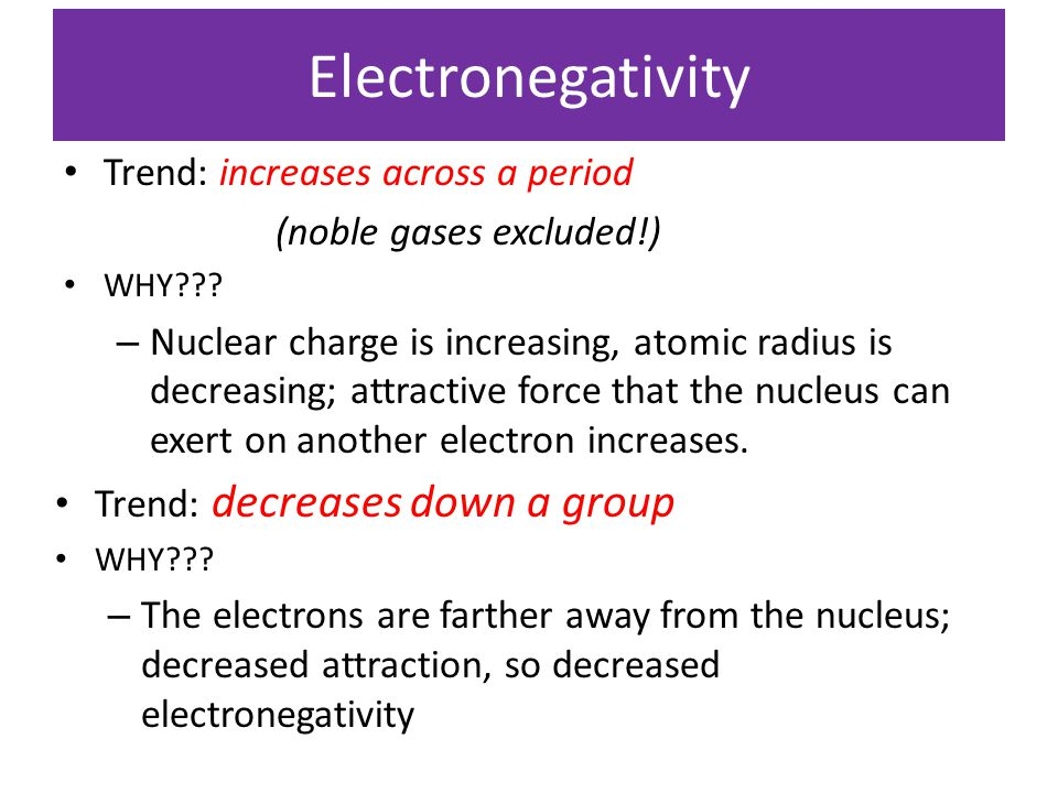 Electronegativity Trend: increases across a period