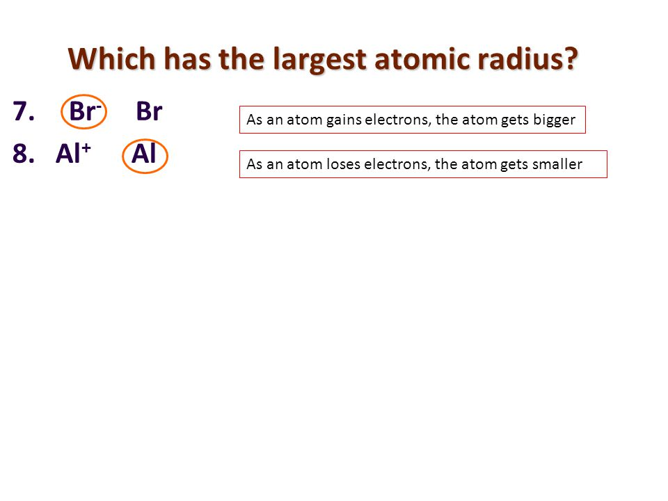 Which has the largest atomic radius