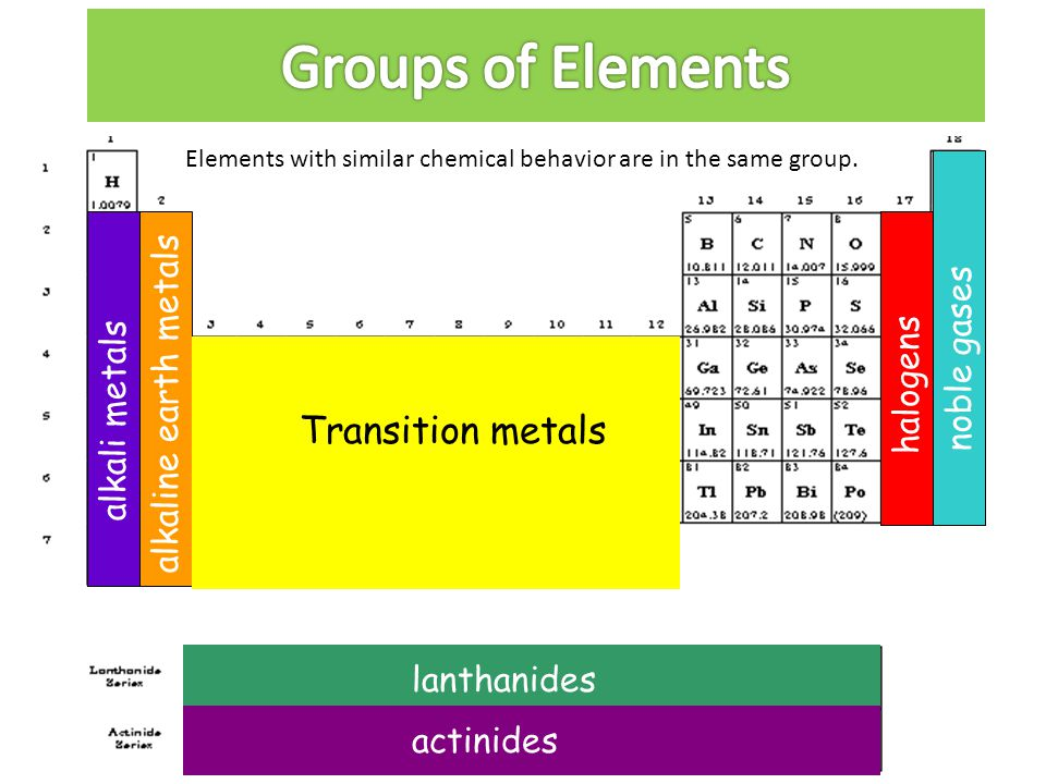 Groups of Elements Transition metals noble gases alkaline earth metals