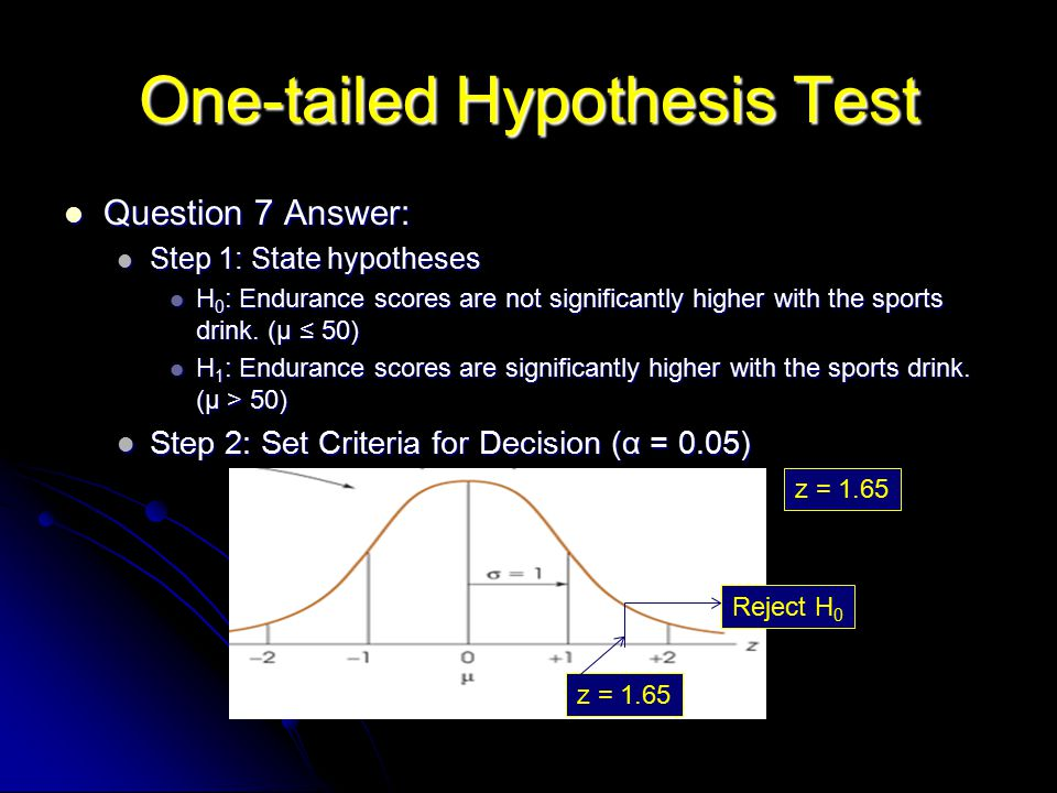 One-tailed Hypothesis Test