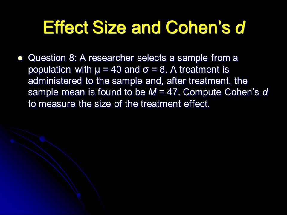 Effect Size and Cohen's d