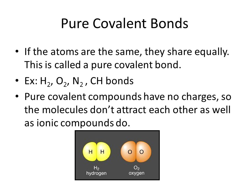 Pure Covalent Bonds If the atoms are the same, they share equally. This is called a pure covalent bond.