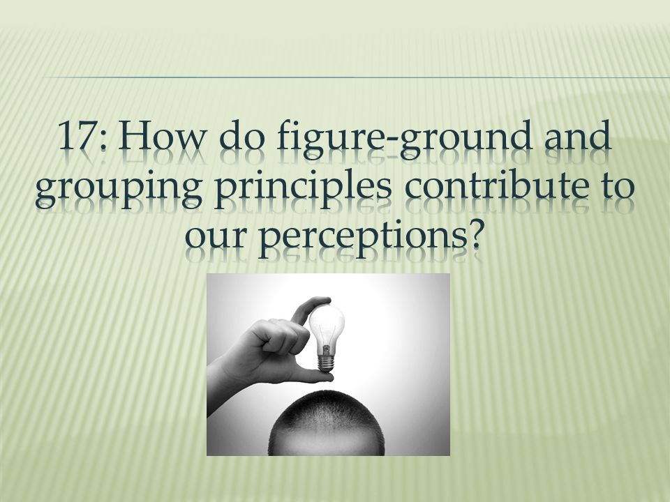 17: How do figure-ground and grouping principles contribute to our perceptions
