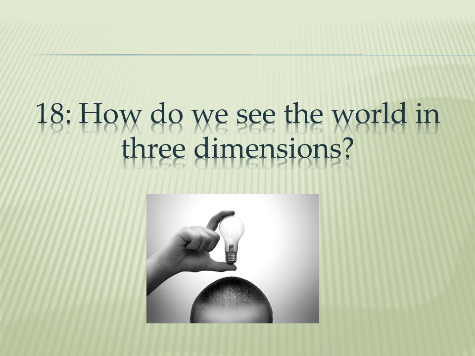 18: How do we see the world in three dimensions