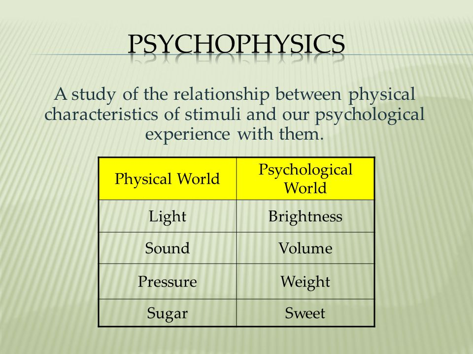 Psychophysics A study of the relationship between physical characteristics of stimuli and our psychological experience with them.