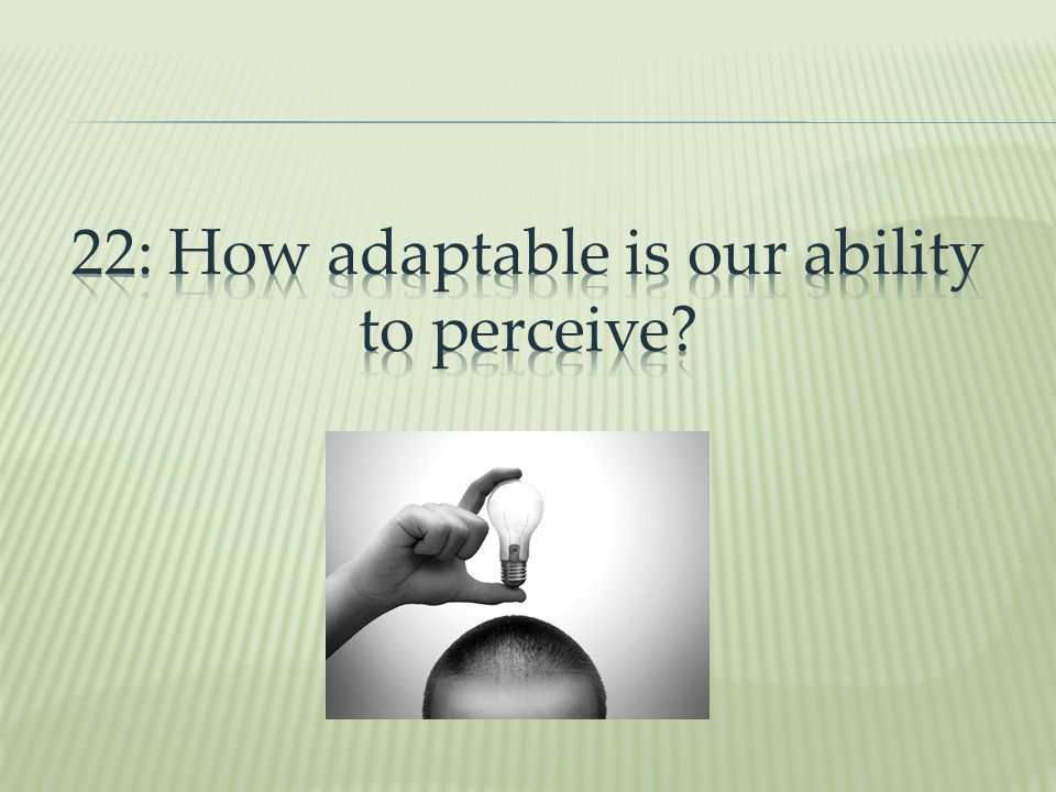 22: How adaptable is our ability to perceive