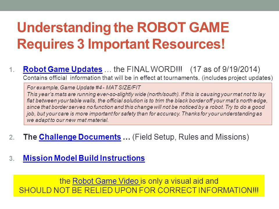 Understanding the ROBOT GAME Requires 3 Important Resources!