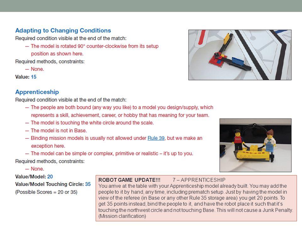 ROBOT GAME UPDATE!!! 7 – APPRENTICESHIP