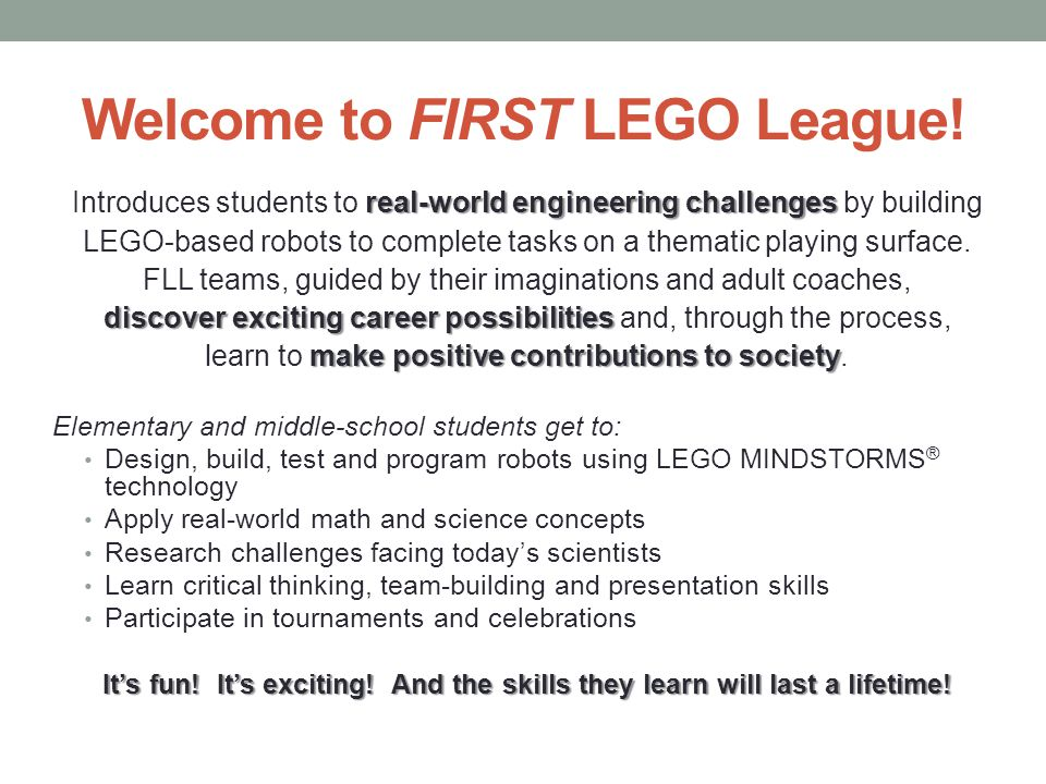 Welcome to FIRST LEGO League!