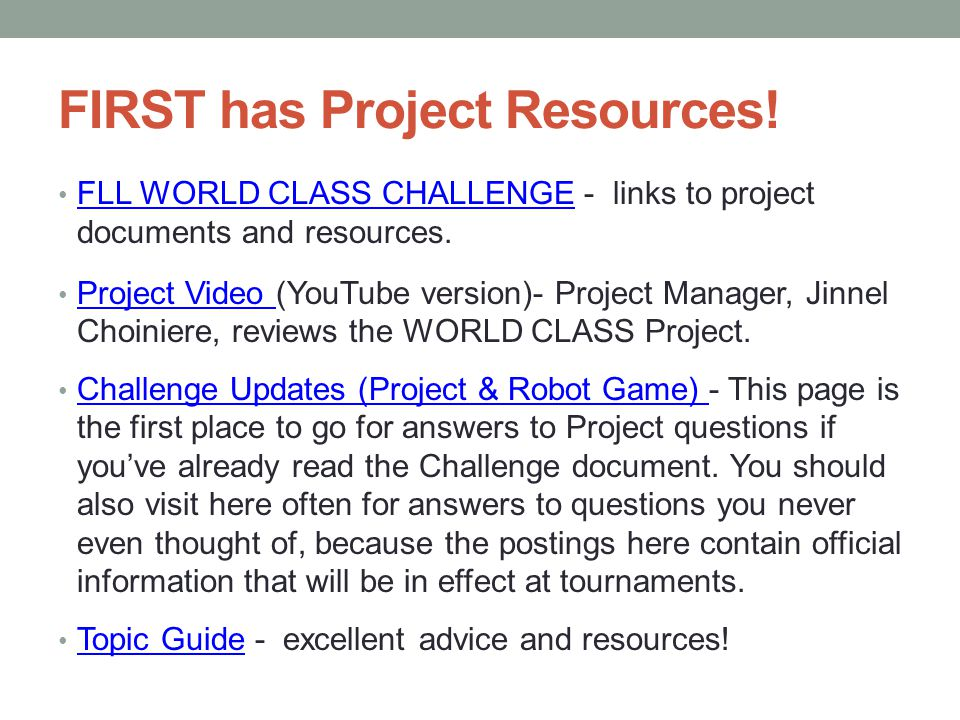FIRST has Project Resources!