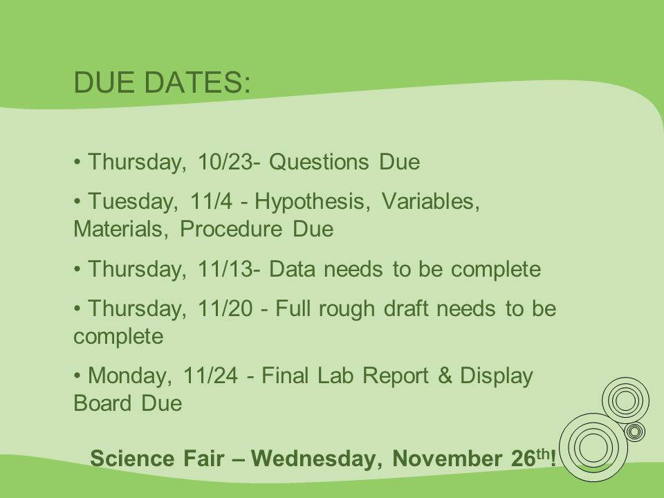Science Fair – Wednesday, November 26th!