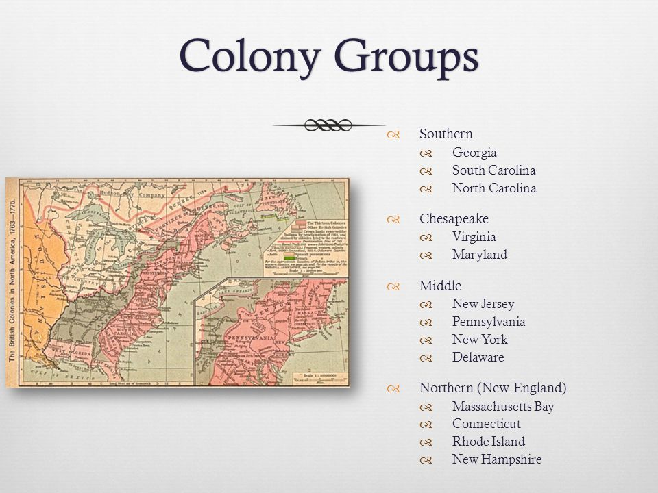 Colony Groups Southern Chesapeake Middle Northern (New England)