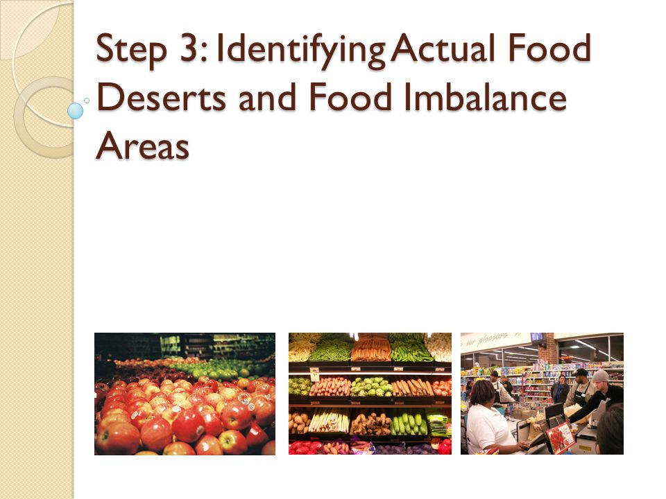 Step 3: Identifying Actual Food Deserts and Food Imbalance Areas