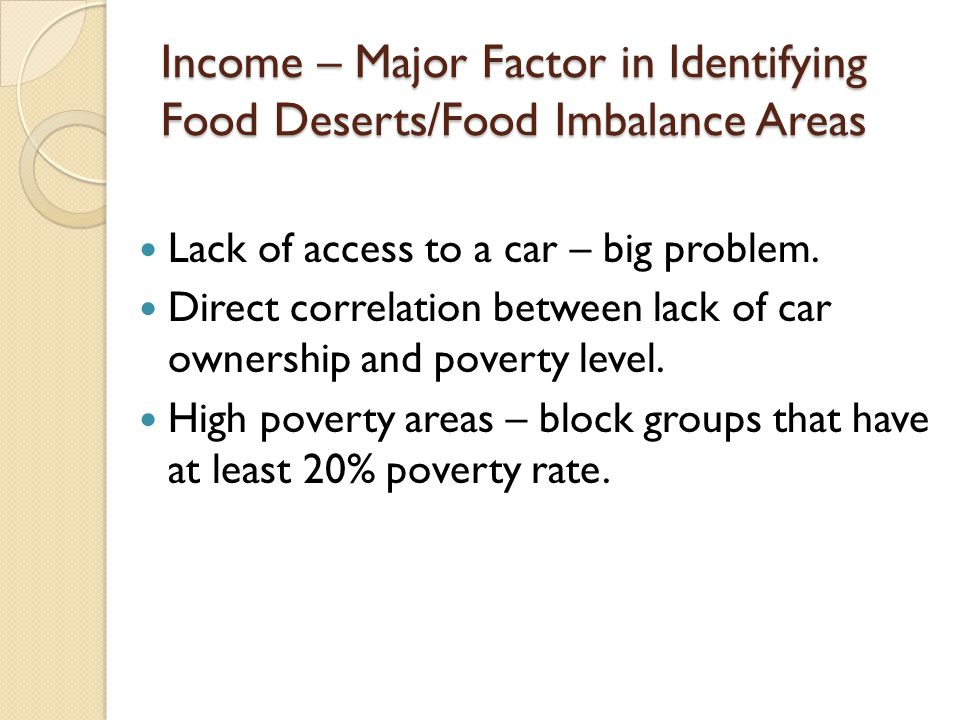 Income – Major Factor in Identifying Food Deserts/Food Imbalance Areas
