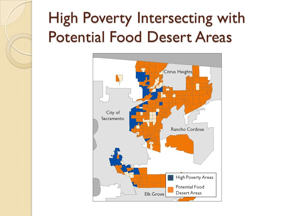 High Poverty Intersecting with Potential Food Desert Areas