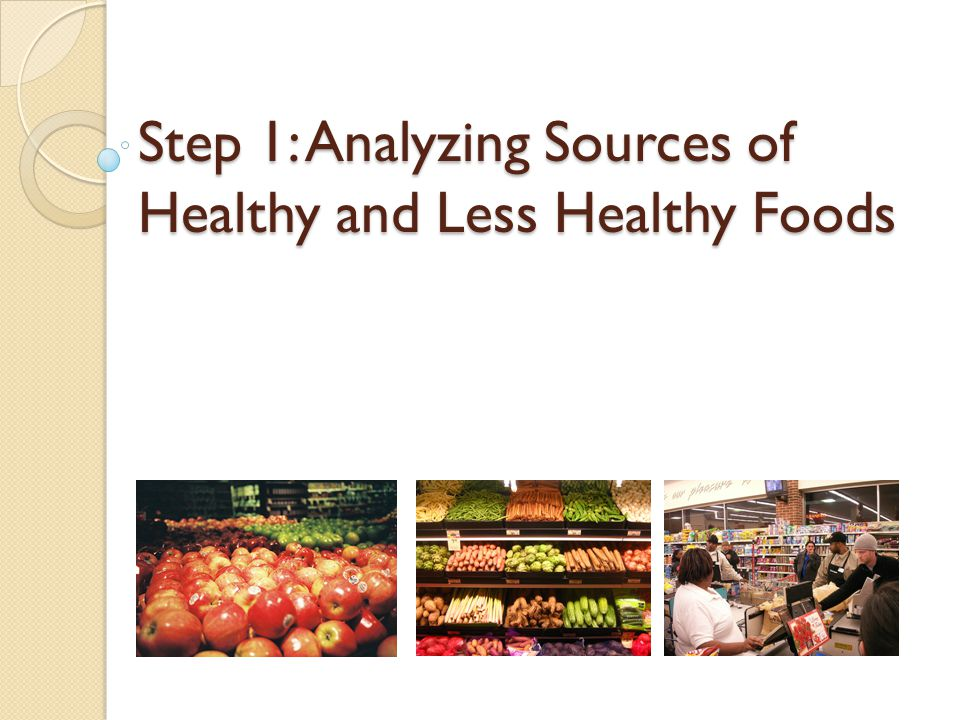 Step 1: Analyzing Sources of Healthy and Less Healthy Foods