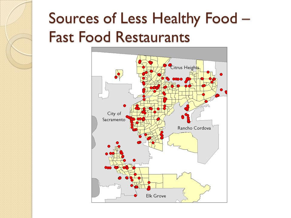 Sources of Less Healthy Food – Fast Food Restaurants
