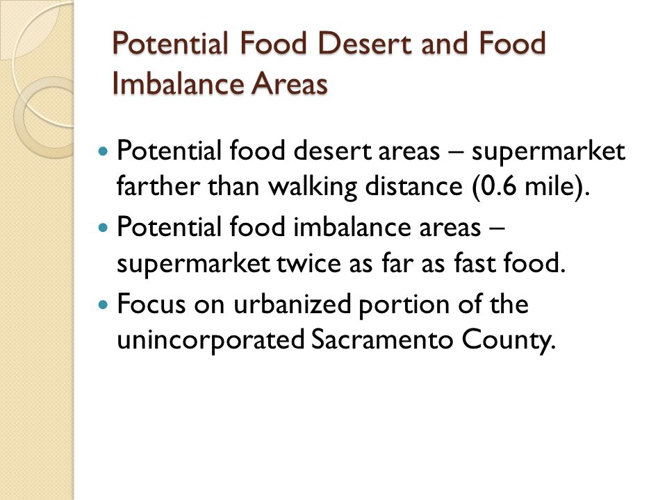 Potential Food Desert and Food Imbalance Areas