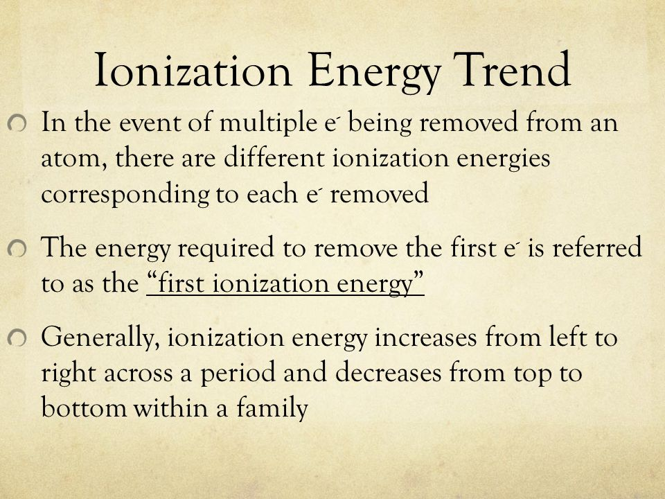 Ionization Energy Trend