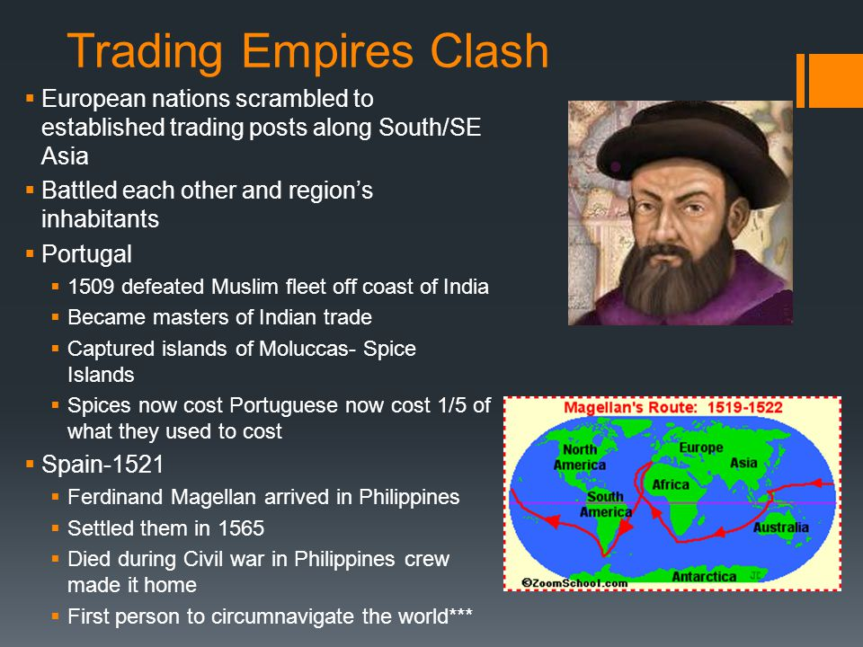 Trading Empires Clash European nations scrambled to established trading posts along South/SE Asia. Battled each other and region's inhabitants.