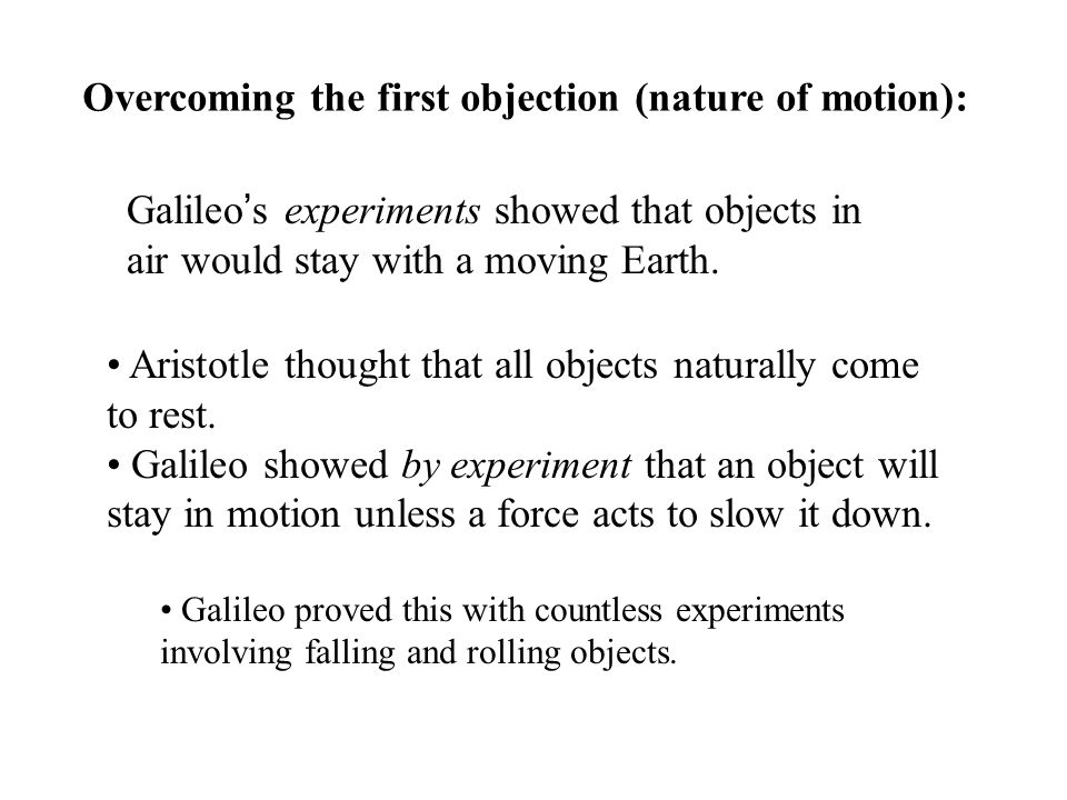 Overcoming the first objection (nature of motion):