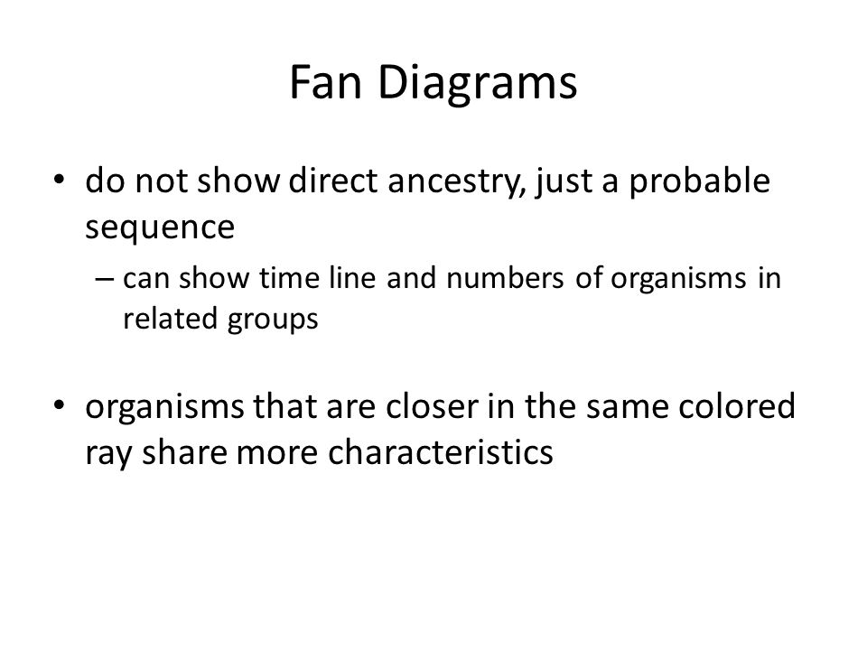Fan Diagrams do not show direct ancestry, just a probable sequence