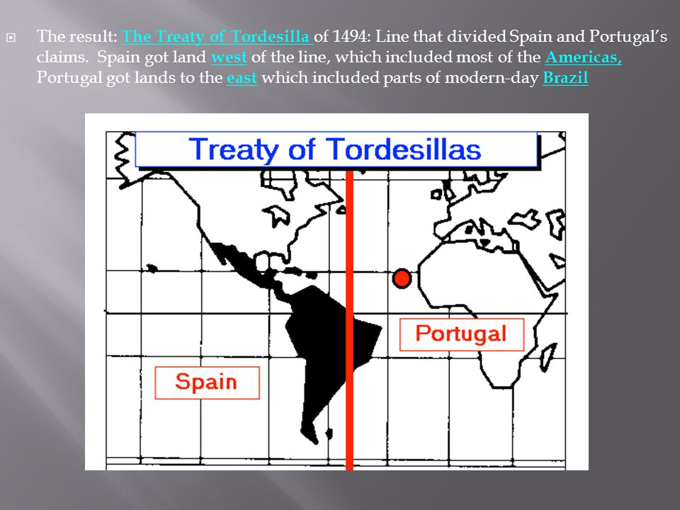 The result: The Treaty of Tordesilla of 1494: Line that divided Spain and Portugal's claims.