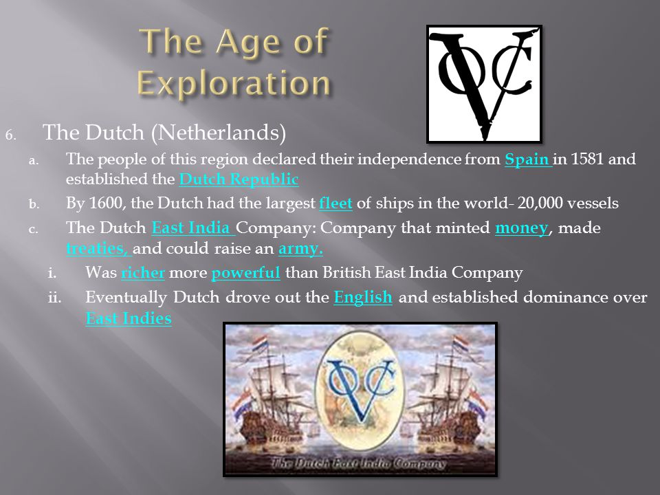 The Age of Exploration The Dutch (Netherlands)