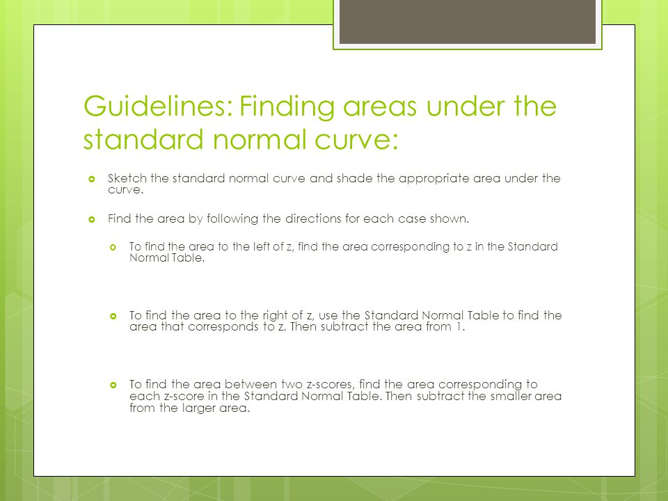 Guidelines: Finding areas under the standard normal curve: