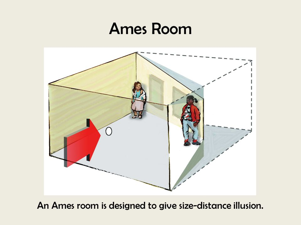 An Ames room is designed to give size-distance illusion.