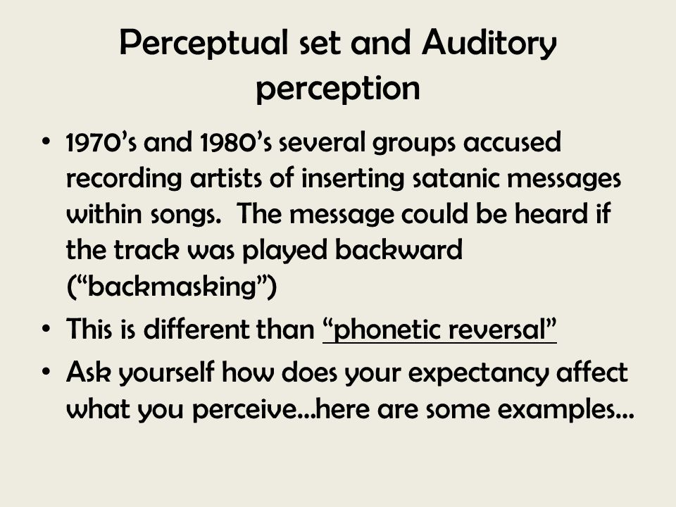 Perceptual set and Auditory perception