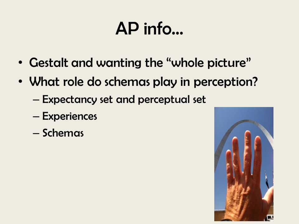 AP info… Gestalt and wanting the whole picture