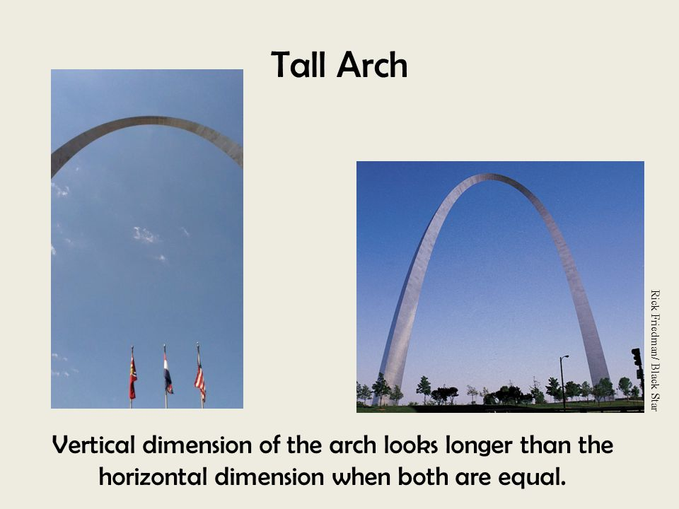 Tall Arch Rick Friedman/ Black Star. Vertical dimension of the arch looks longer than the horizontal dimension when both are equal.