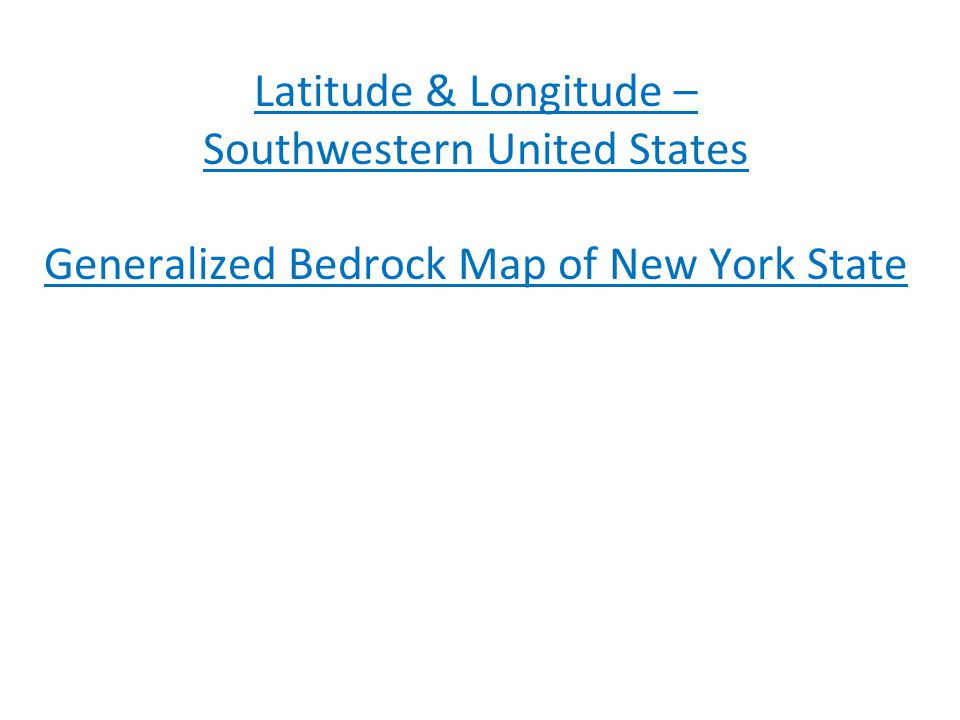 Southwestern United States Generalized Bedrock Map of New York State