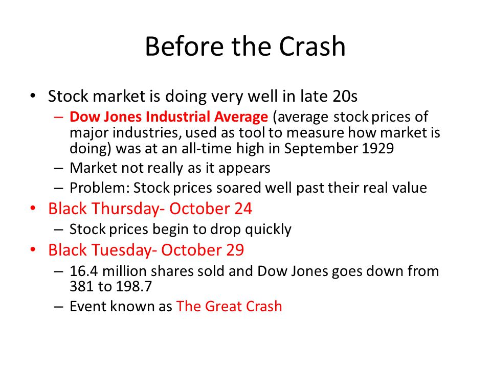 Before the Crash Stock market is doing very well in late 20s