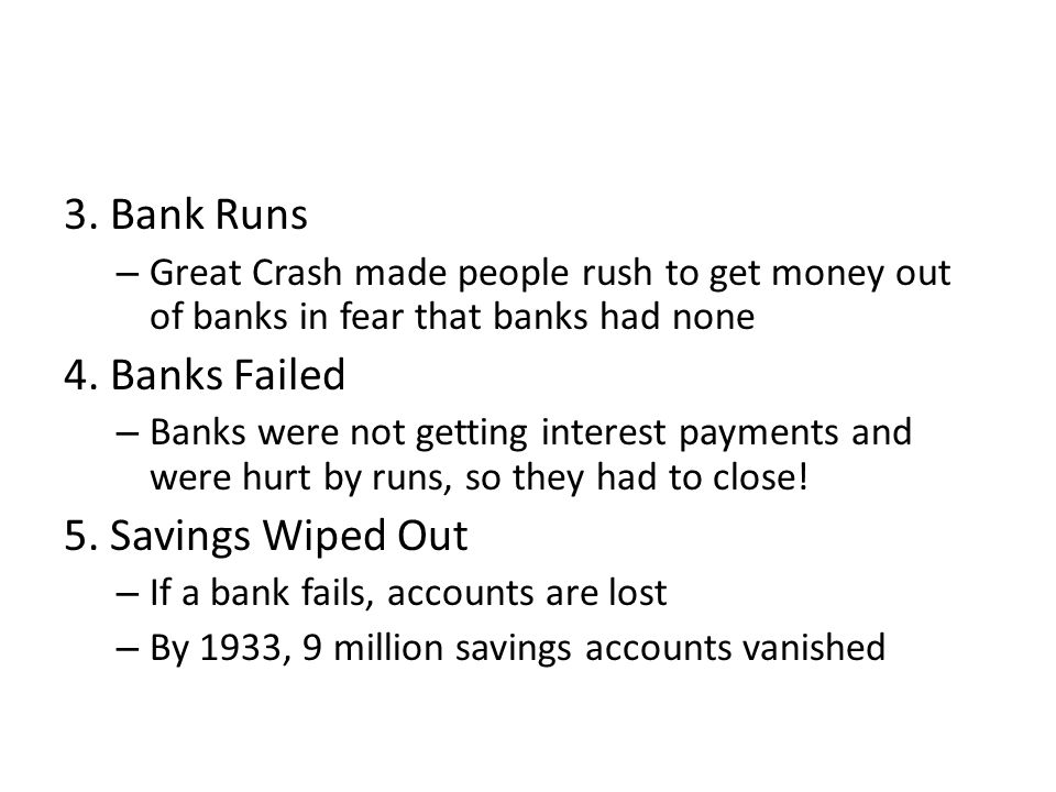 3. Bank Runs 4. Banks Failed 5. Savings Wiped Out