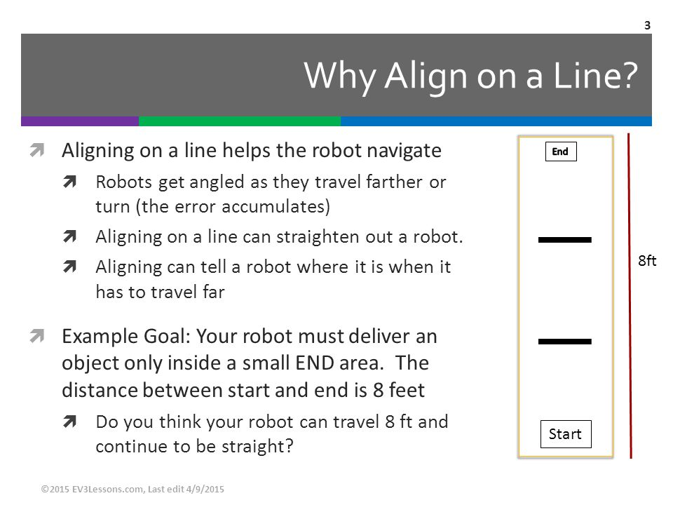 Why Align on a Line Aligning on a line helps the robot navigate