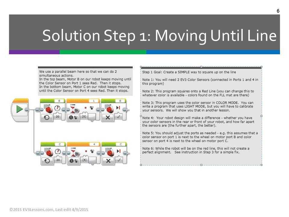 Solution Step 1: Moving Until Line