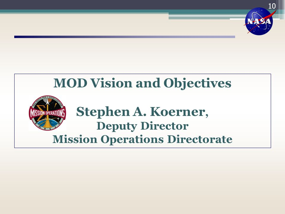 MOD Vision and Objectives Mission Operations Directorate