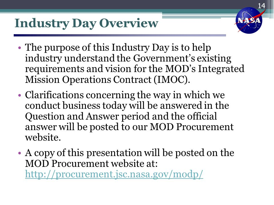 Industry Day Overview