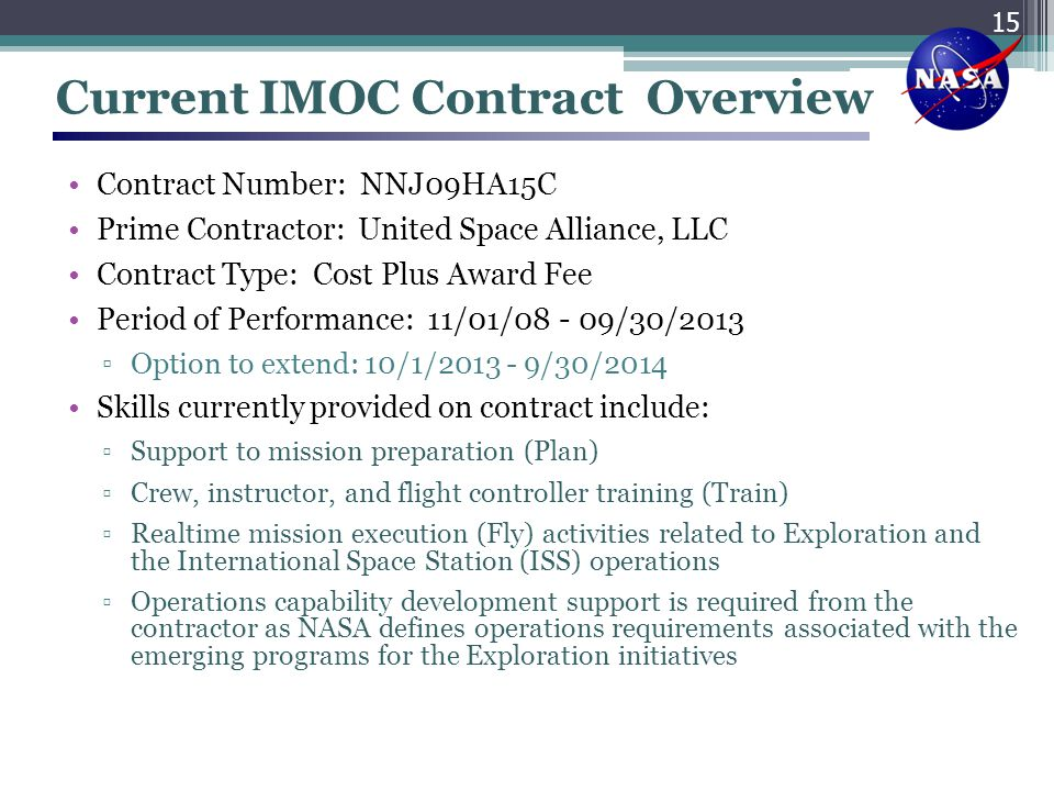 Current IMOC Contract Overview
