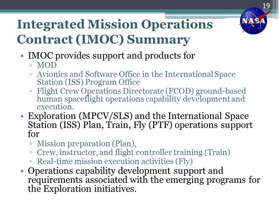 Integrated Mission Operations Contract (IMOC) Summary