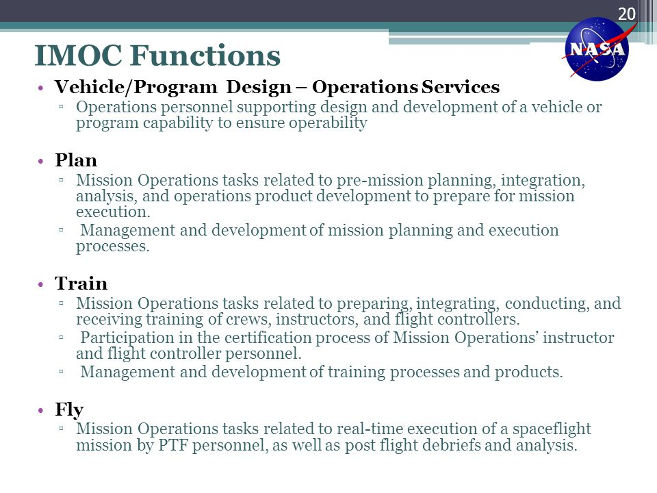 IMOC Functions Vehicle/Program Design – Operations Services Plan Train