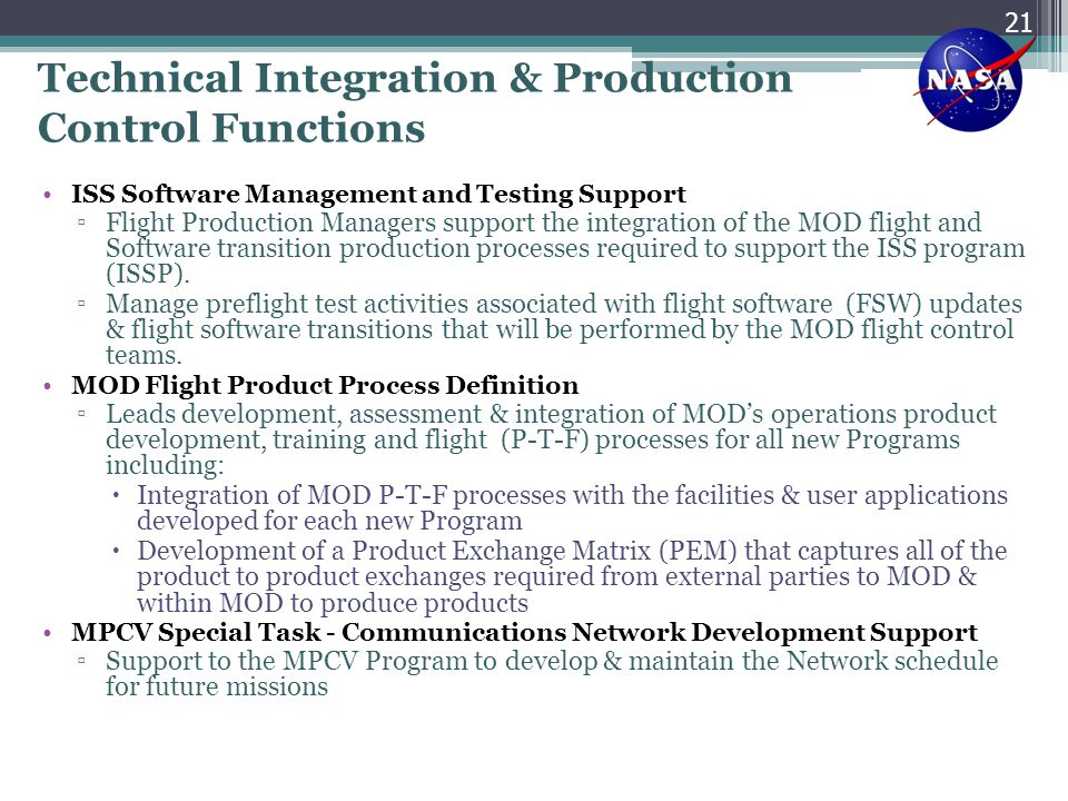 Technical Integration & Production Control Functions