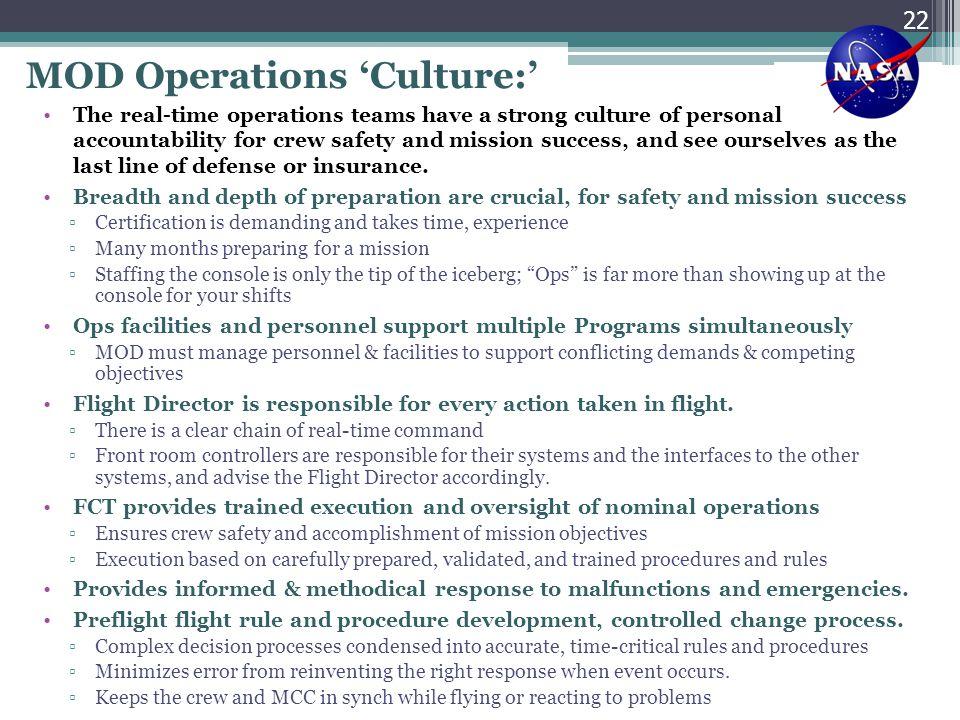 MOD Operations 'Culture:'